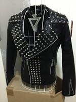 Wholesale color costume resale online - New Male Black Leather Rivets Punk DJ Singer Rock Jacket Pants Men s Slim Casual Fashion Outerwear Man Ds Dancer Costumes