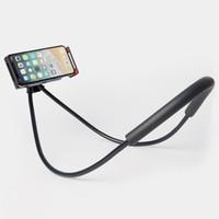 derrapagem do iphone venda por atacado-Preguiçoso Pendurado No Pescoço Suporte Universal 360 Graus de Rotação Flexível Telefone Selfie Titular Cobra-como Pescoço Cama de Montagem Anti-skid Para iPhone Android