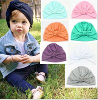 Wholesale black hair kid - Europe US Baby Hats Bunny Ear Caps baby girls hair bows hat newborn crochet hats kid bonnet baby spring cotton photography caps MZ02