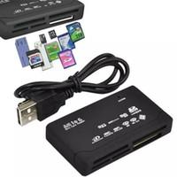 evrensel kart okuyucuları toptan satış-All In One Mini Hafıza Kartı Okuyucu USB 2.0 Çok 1 Evrensel Harici SD SDHC Mini Mikro M2 MMC XD CF MS Ücretsiz DHL