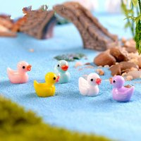 Wholesale miniature dollhouses - 5 pcs lot Cute Ducks Miniatures PVC Action Figures Animal Figurines Micro Landscape Mini Figurine Dollhouse Fairy Garden Decor Ki