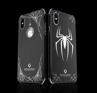 iphone bedeckt licht groihandel-Stoßfest Ultra Light Thin 3D Spinne Metall Telefon Shell Gloss Black Metallic Rückseitige Abdeckung Fall für iPhone X 7 Plus Samsung S9 Note8