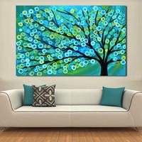 yağlıboya resim ağaç toptan satış-Yağlıboya Tuval Sanat Mavi Altın Soyut Ağacı Resim Sergisi Oturma Odası Duvar Hiçbir Çerçeve Için Dekoratif Resimler
