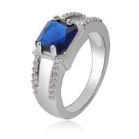 pedra gemada de zircão venda por atacado-Luxo Zircon Anéis Para As Mulheres 925 Azul De Prata Gem Stone Big Ring Party OL Acessórios 2018 Novos Presentes de Moda