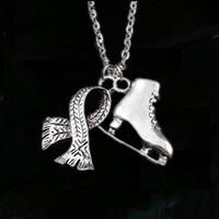 lenços charme jóias venda por atacado-12 pçs / lote Ice Skate Cachecol Colar Colar de Jóias de Inverno Patins De Gelo e Cachecol Charme