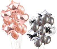 ingrosso palloncini di cuore di compleanno-Foil Heart Balloons Latex Balloon Set Decorazioni per feste di matrimonio Palloncino in lattice per decorazioni per feste di compleanno