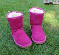 bota antideslizante al por mayor-2018 de alta calidad de moda Australia zapatos para niños otoño e invierno WGG 5281 botas de nieve niños más terciopelo zapatos antideslizantes de cuero calientes