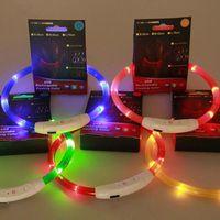 colar usb venda por atacado-USB prático recarregável LED piscando luz banda cinto segurança cão coleira