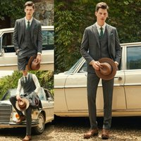 Wholesale autumn fall best images resale online - Top Quality Groom Tuxedos Fall Winter Mens Designer Suits Peaked Lapel Three Pieces Best Men Suit For Weddings Business Mens Suits