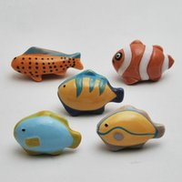 Wholesale ceramic knobs for cabinets - Lovely Childlike Ceramic Tropical Fish Theme Cupboard Closet Cabinet Drawer Furniture Knob Handle For Nursery 5PCS Set