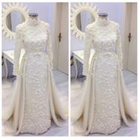 vestido largo de muselina al por mayor-Modestos nuevos vestidos de novia de la envoltura de la muselina mangas largas con flores 3D Adornado vestidos de novia 2019 Modest Vestidos De Mariage