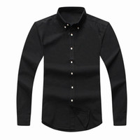 Wholesale Mens Denim Dress Shirt - top 2018 mens Designer long sleeved Casual Solid shirt men's USA Brand RL Polos Shirts fashion Oxford social shirts Small Horse Dress Shirts