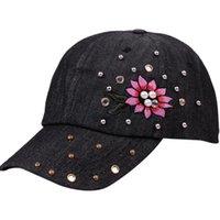 elmas saplı kovboy toptan satış-Kovboy beyzbol taklidi Kap Kadın Erkek Nakış Moda Beyzbol Şapkası hip hop Baba Şapka snapback Unisex Baba şapkaları gorras
