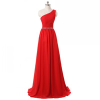 Wholesale stock strapless chiffon wedding dress for sale - Real Photos Elegant Strapless Women s A Line Long Red Bridesmaid Dresses With Beaded Belt Sweetheart Pleated Wedding Party Dresses Custom