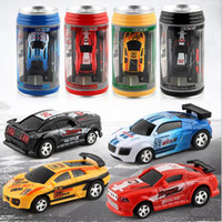 Wholesale rc car led - Mini Coke Can Speed Rc Radio Remote Control Micro Racing Car with Led Lights Toys Kids Gift