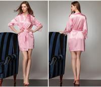 Wholesale Lace Kimono Bathrobe - Long Sleeves Cheap Bridesmaid And Bride Robes Silk Bathrobe Wedding Party Robe Kimono Silk Satin Robes For Bridesmaid Silk Wedding Robe
