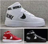 Wholesale hot selling SUP AF1 men s women s high cut Skateboarding sports shoes Couple red black red air skate sneaker size EUR36