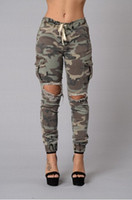 mode jeans große löcher großhandel-2018 Fashion Camo Denim Röhrenjeans Woman Camouflage Jeans Schlanke Hose mit großem Loch Plus Size S-XL