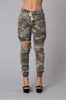 модные джинсы большие дыры оптовых-2018 Мода камуфляж джинсовые узкие джинсы женщина камуфляж джинсы тонкий большое отверстие брюки плюс размер S-XL