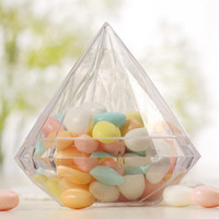 Wholesale Diamond Supply Box - 9*9cm Clear Large Plastic Diamond Candy Boxes Wedding Favor Box Candy Holders Banquet Giveaways Free Shipping ZA6661