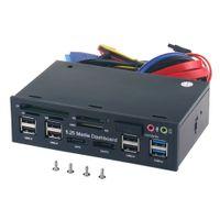 painel de áudio usb venda por atacado-Áudio do painel frontal do painel dos meios do PC de 5,25 polegadas com SATA eSATA 2 x USB 3,0 e 6 x USB 2.0 do cubo SD SD MMC M2 CF