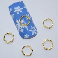 Wholesale Crystal Nail Art Designs - 200pcs 3d Nail Art Supplies Rhinestone Decoration Jewelry Golden Hexagon Design Crystals Acrylic Sticker Manicure Nails Tools H041