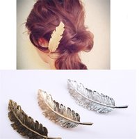Wholesale feather barrette hair clip - Korea New Fashion Metal Feather Hairpin Hair Clips Satement Hairpins Hairwear Accessories Women Jewelry Retro Design