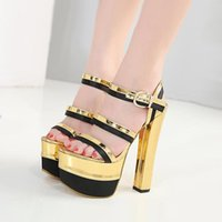 Wholesale platform shoes strappy heels - 16cm Sexy Gold Black Strappy Open Toe High Platform Chunky Heels Patent PU 2018 new size 35 to 40