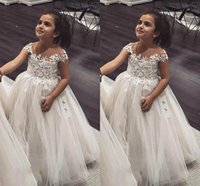 Wholesale lace tulle dress infant for sale - Ball Gown Flower Girls Dresses Sheer Neck Cap Sleeves Lace Tulle Princess Children Wedding Dresses Infant Toddler Birthday Party Dresses