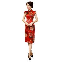 e4d12ef9acd6df Shanghai Geschichte 2018 Kurzarm Vintage Floral Qipao Faux Seide Cheongsam  Kleid Frauen knielangen chinesischen Tracht