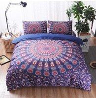 funda de almohada floral azul al por mayor-BeddingOutlet 3 piezas azul azul Mandala Floral Funda nórdica con funda de almohada Bohemia flor Boho Queen Size ropa de cama suave