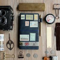 weinlese buchhaltung buch großhandel-Nichthandgemachtes Vintage Echtleder Notizblock Loose-Leaf Konto Buch Standard Portable Reisepass Größe