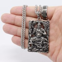 Wholesale men chinese necklace - Men's fashion jewelry Guan Yu 316L stainless steel Pendant men Chinese Guan Yu Pendant Necklace - free shipping