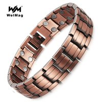 Wholesale bio silver for sale - Group buy WelMag Healing Magnetic Copper Bracelets Bangle for Men Bio Energy Double Row Magnet solid Copper Male Bracelets Jewelry Y1891709