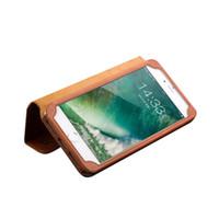 apfel iphone steht großhandel-Standfunktion Ledertasche für iPhone 7 Plus mit Visitenkartenhalter Schlankes Flip Case als Premium Zubehörhülle für das iPhone 7 Plus