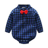 patrón de mameluco de manga larga de bebé al por mayor-Xida Unisex Baby Fashion Check Pattern Algodón de manga larga Mono Blusa Traje Rastreo Ropa Romper para bebé