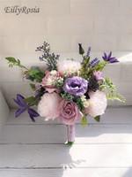 lila rosa blumenstrauß großhandel-Lila Lavendel lila Hochzeit Bouquet für Land Hochzeit Blumen Brautstrauß künstliche erröten rosa Rosen Blumen Western Ramo de Flores