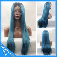 Wholesale two toned blue lace wig - Silky Straight Ombre Black to Dark Blue green Synthetic Lace Front Wigs Glueless Two Tone Natural Heat Resistant Fibers Hair Wig