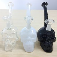 Wholesale Gravity Water - Black White Glass Skull Head Glass Bong Oil Rig Recycle Bowl Herb Beaker Gravity Glass Water Pipe Dab Rig Recycler Smoking Pipe Hookah