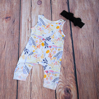 Wholesale Rompers For Sale - Boho Floral Harem Rompers With Headbands Cotton Floral onesie Cute Girls Harem Romper Baby Girl Clothes Boutiques Girls Jumpsuits for Sale