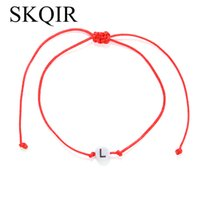 ingrosso corda amante dell'amore-SKQIR Red Rope String Braccialetti regolabili Personalizzati Round Lettera Alfabeto Amore Bracciale Moda gioielli per gli amanti delle donne Uomini