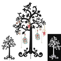 Wholesale Wood Bird Stand - 2018 Birds Tree Jewelry Stand Display Earring Necklace Ring Holder Organizer Rack Tower display