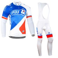 Wholesale mountain bikes jersey pants for sale - Group buy FDJ team Cycling long Sleeves jersey bib pants sets New mens summer quick dry Clothing maillot mountain bike U72005