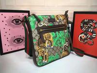 Wholesale tiger print bags - 2018 Fashion Men printed tiger and bird Shoulder bags brand real leather crossbody handbag Messenger bag For man 29cmx 27.5cmx 3.5cm #406408