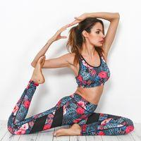 Wholesale Vintage Tracksuits Women - 2017 Floral Printed Yoga Set Women Splice Running Set Sport Bra Leggings Sports Suit Vintage Sports Clothing Gym Tracksuits