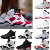Wholesale olympics opening - New 2017 mens basketball shoes 6 black cat Angry bull carmine infrared oreo red olympic sneaker shoes online us size 8-13