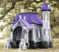 Wholesale inflatable tunnels - Inflatable Horrible Haunted House Custom Blow Up Screaming Tunnel Giant Ghost Castle With Demons For Halloween Decoration