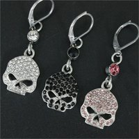 Wholesale Rhinestone Skull Earrings - 3pairs lot Newest design 3 color crystal biker earrings 316l stainless steel fashion jewelry hot selling motorbiker skull earrings