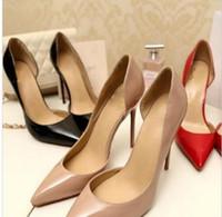 2018 Women Black Sheepskin Nude Patent Leather Poined Toe Women Pumps,120mm Fashion lRed Bottom High Heels Shoes Side Empty Wedding shoes