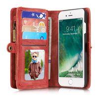 iphone leder tragen hüllen groihandel-CaseMe Zipper Wallet Phone Case Schutzhülle PU Leder Geldbörse Schutzhülle Flip Holster Tragetaschen Kartenhalter für iPhone7 6 Samsung S7